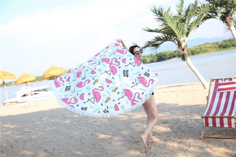HTB18uEESpXXXXcTXVXXq6xXFXXXF - Round Style Microfiber Beach Towel - Flamingo With Tassels Design