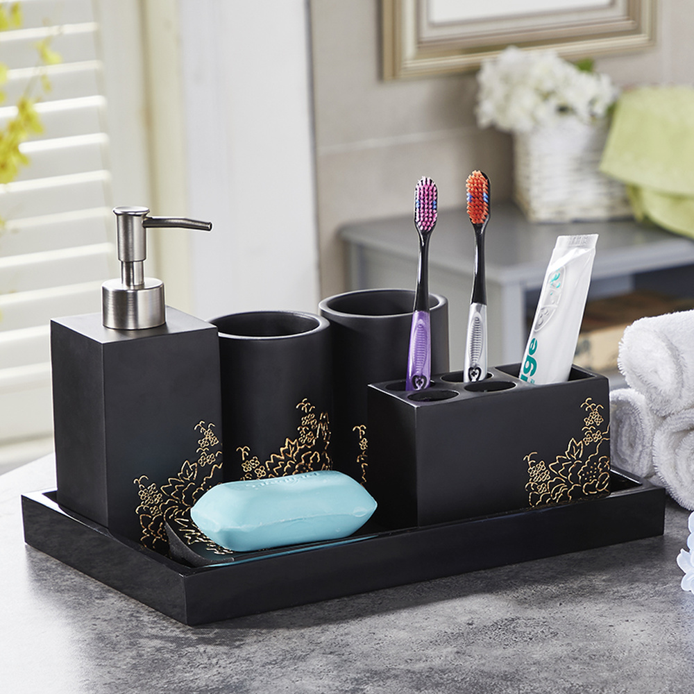 North European and American bathroom five-piece set Washing set modern minimalist Cup toothbrush holder bathroom kit LO723202 simple bathroom ceramic wash four piece suit cosmetics supply brush cup set gift lo861050