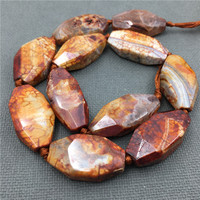 Poliedro Faceted Mottled Red Dragon Veins Agates large Mix size banded Crack agates Quartz Pendant Beads For Jewelry MY1282