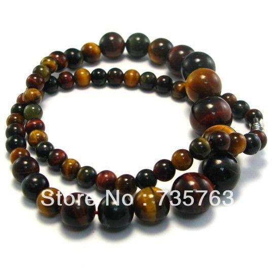 Xiuli 00282 naturel trois - couleur oeil de tigre collier