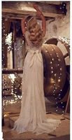 2015 Luxury Charming Ivory Wedding Dresses Sexy V Neck Lace Sheath Sweep Train Bridal Dress Crystal