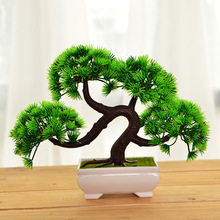 Simulation Welcoming Pine Potted Green Bonsai Pine Small Bonsai Home Decorations Desktop Ornaments seven silk cloth sunflowers in bunch stylish ornaments decorations yellow green