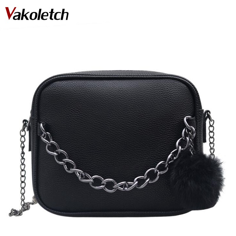 Small Designer Chain Women Bag Women Leather Handbag Women Messenger Bags PU Shoulder Crossbody Bag with Plush Ball Toy K27 все цены