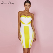 51b1141d847 Deer Lady Off Shoulder Dress Summer 2018 Sexy White Bandage Dress Strapless  Bodycon Bustier Dress Mini