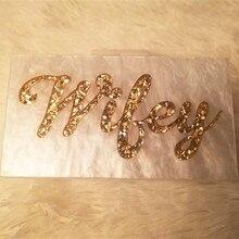 Personalizzato Lettera Nome Moglie Bianco Perla Con Glitter Oro Acrilico Borse Del Partito Della Signora di Viaggio Da Sera Acylic Scatola Pochette Borsa