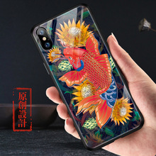 Chinese koi carp marital harmony Glass case For Iphone XS MAX X XR cover kam soft FOR IPHONE 6 6S 7 8 PLUS