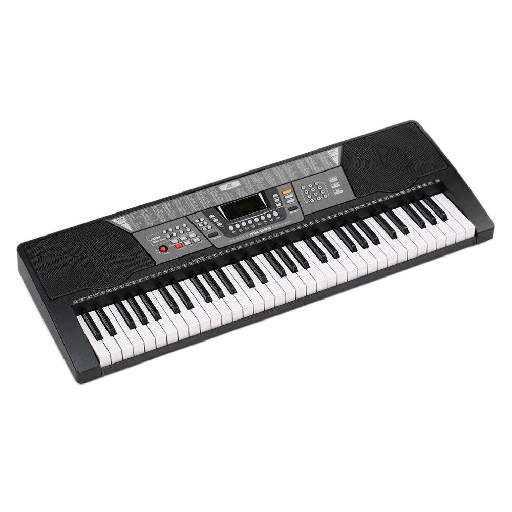 electric organ keyboard black 61 keys 110v electronic piano us plug 100 timbres 100 rhythms 8. Black Bedroom Furniture Sets. Home Design Ideas