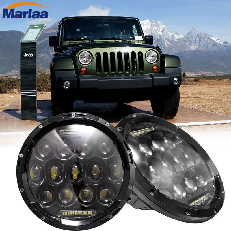 7inch 75W LED Round Headlight High H4 H13 DRL LED Lamp Low Beam for Jeep Wrangler JK Hummer, Harley motorcycle 7inch round black left hand led headlight hi low beam 80w high bright driving lamp for jeep harley