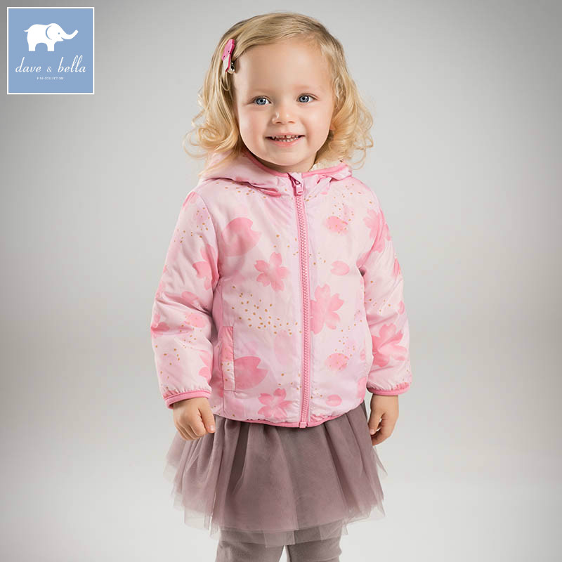 DB4258-D dave bella spring infant baby girls hooded coate kids print outerwear toddler children high quality lovely clothes