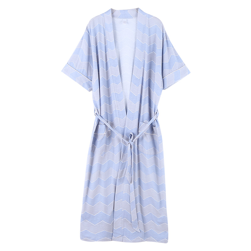 Newest Summer 100%Cotton Mens Bathrobe Short Sleeve V-neck Cardigan Loose Plus Size L-XXXXL Casual High Quality Nightwear Robe