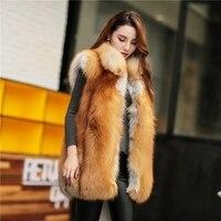 British style real fox Fur winter coat for women luxury whole pelt genuine red fox fur vest with collar female fur gilet