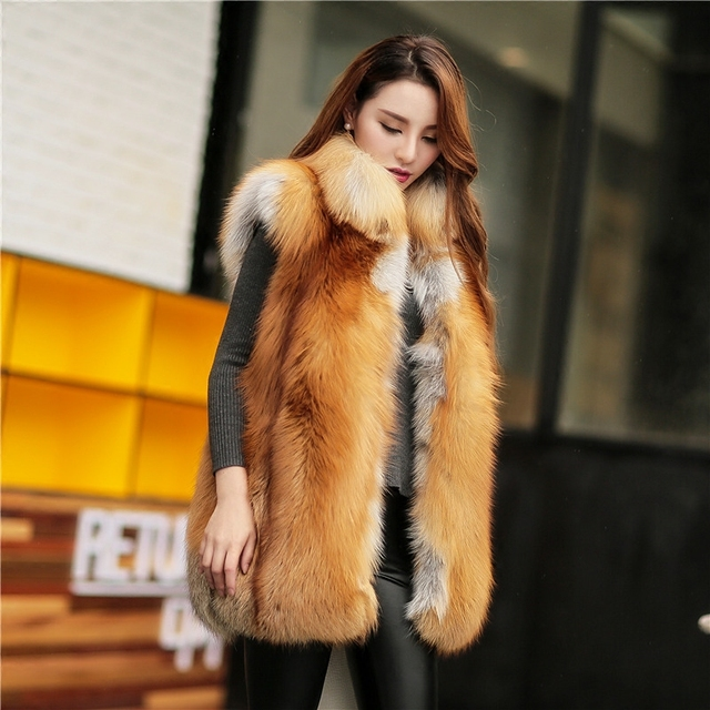 a26f7c403 New real fox Fur winter coat for women luxury whole pelt genuine red fox  fur vest with collar medium long design-in Fur & Faux Fur from Women's ...