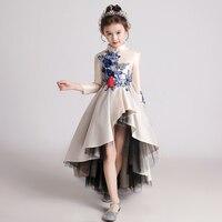 Princess dress fashion catwalk dress Chinese style small host piano costume winter long sleeve birthday dress tutu
