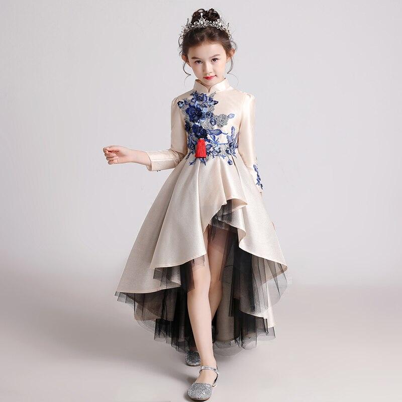 Robe princesse mode catwalk robe style chinois petit hôte piano costume hiver manches longues robe d'anniversaire tutu