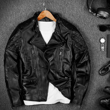 Free Shipping Men's Stand Collar Cowskin Genuine Leather Jackets Rock Punk Style Moto&Biker Leather Coats Short Slim Overcoat(China)