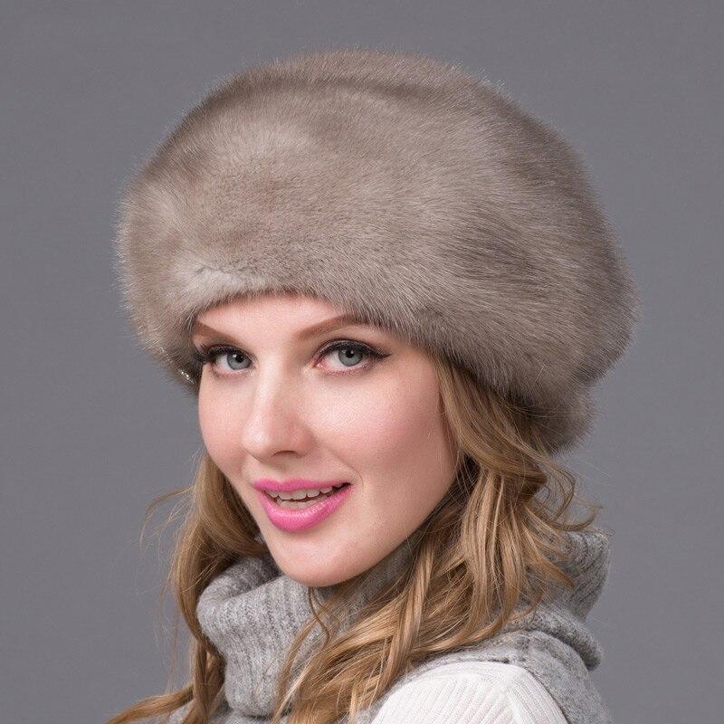 Настоящая норковая меховая шапка зимняя женская шапка со стразами коричневая норковая шапка норковый Меховой берет русская качественная э