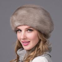 Real mink fur hat winter women's hat with diamond brown mink fur cap mink fur beret Russian quality elegant hat DHY 53