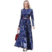 2016 Spring Printed Maxi Dresses Women O-Neck Long Sleeve Plus Size Blue Long A Line Dress S-4XL Vestido De Festa 1731