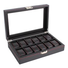 OUTAD 12 Slots Luxury Carbon Fiber Watch Box Jewelry Watch Display Storage Holder Rectangle Black Leather Watch Case