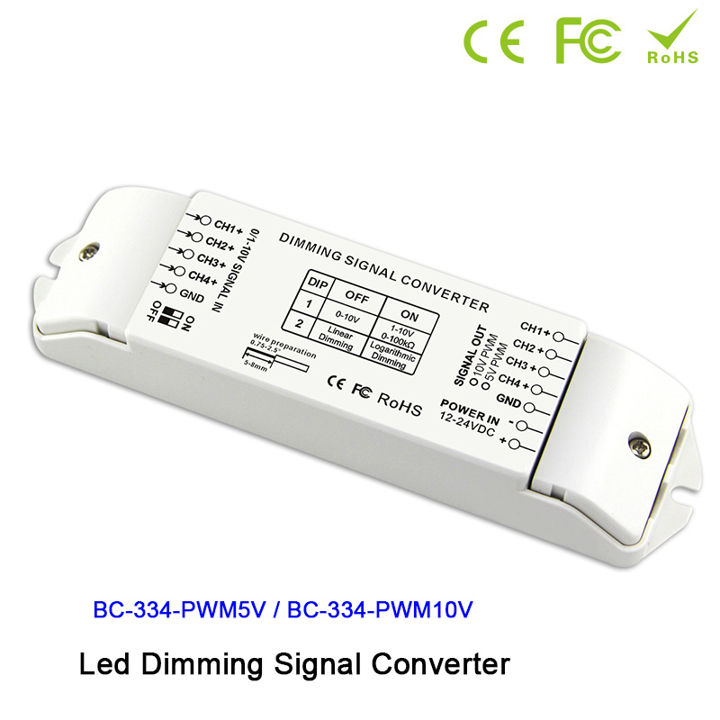 4 channels 0/1-10V to PWM 5V/PWM 10V 2 DIP switches out LED dimming signal converter signal driver controller for led lamp
