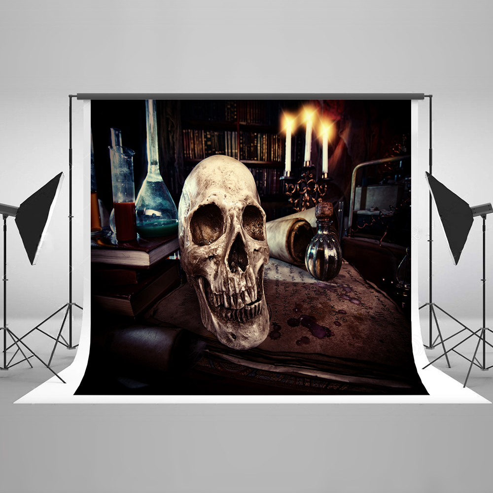 Kate Halloween Brown Backdrop Dark Room Skeleton Candles Blood Papers Bloody Backgrounds for Halloween Photography Photo Pros plastic standing human skeleton life size for horror hunted house halloween decoration