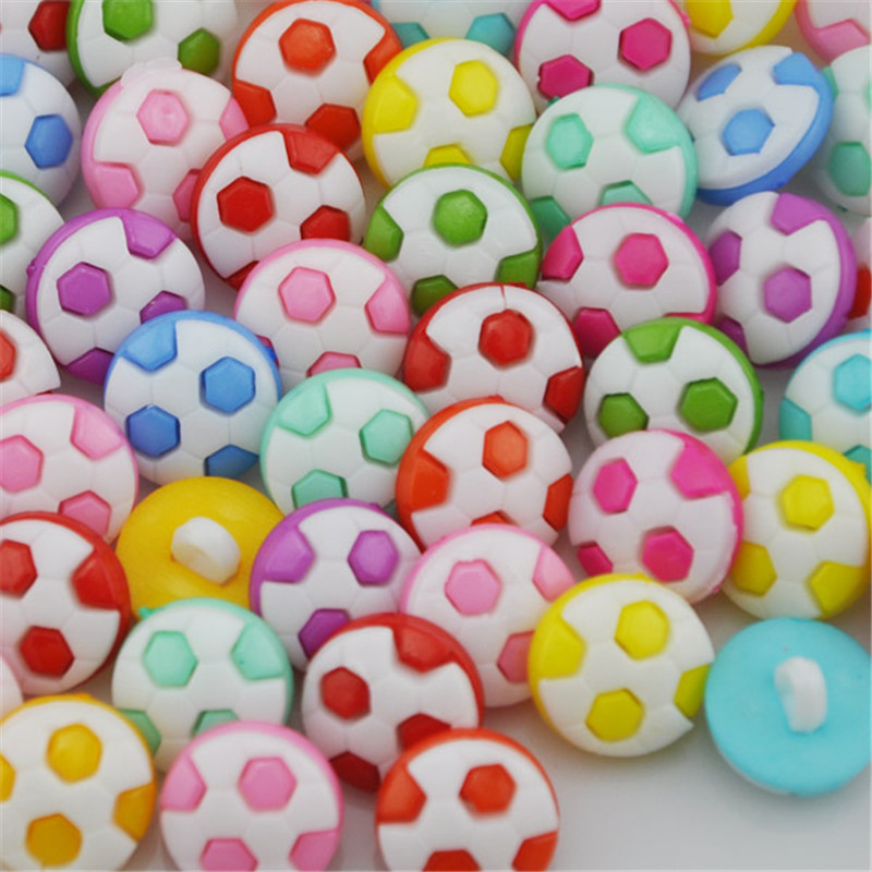 10/50/100pcs Fashion Mix Colors Cute Football Baby/Kid's Backholes Sweing Buttons PT71