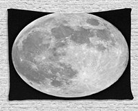 Moon Tapestry Black and White Full Moon Detailed Photography of Heavenly Space Themed Image, Wall Hanging for Bedroom