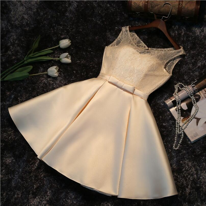 NICEOOXIAO Elegantna kratka večernja haljina 2018 Čipka O-neck - Haljina za posebne prigode - Foto 4