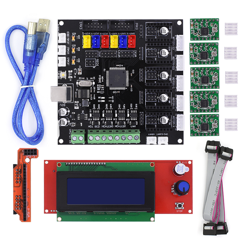New 3D Printer MELZI Motherboard Reprap MKS MELZI Controller MainBoard 2004LCD Board For Prusa I3 Printer