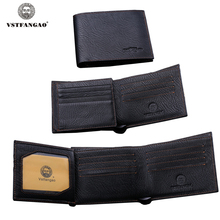 Men's Casual Genuine Leather Bifold Wallet Credit/ID Card Holder Slim Coin Purse Black Fashion Large Capacity Men Purses Wallets