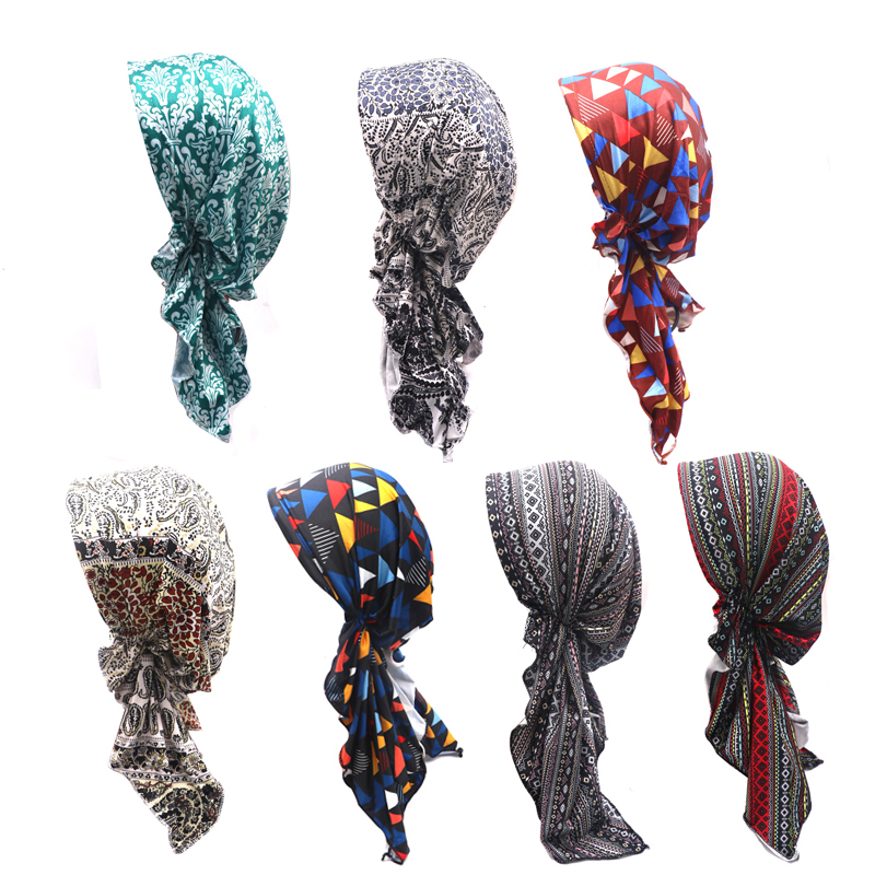 Fashion Female Spring and Autumn Turban Hat Stretchy Flower Turban Caps Head Wrap Women's   Skullies     Beanies   Casquette Mujer
