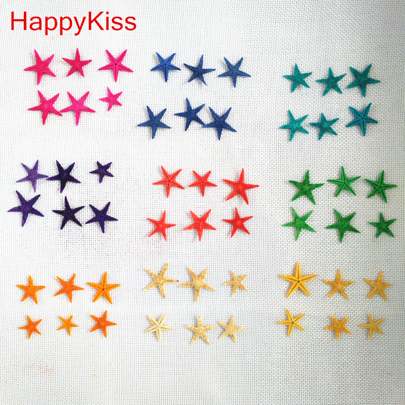 HappyKiss 30pcs 1-2.5cm  Mini Starfish Craft Decoration Natural Crafts Sea Stars DIY Beach Cottage Wedding Decor Colors Star