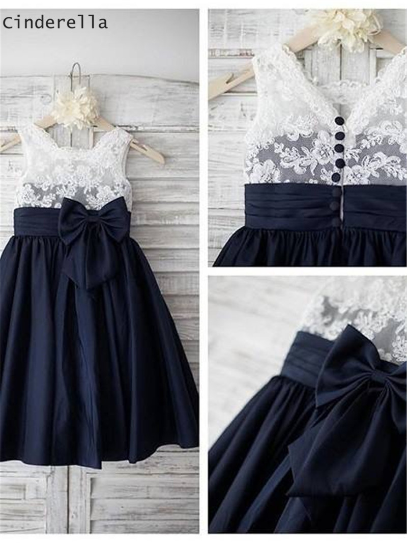Cinderella Scoop Sleeveless Lace Applique Satin   Flower     Girls  '   Dress   Cheap Satin   Flower     Girls  '   Dresses   Lovely   Girl   Party Gowns