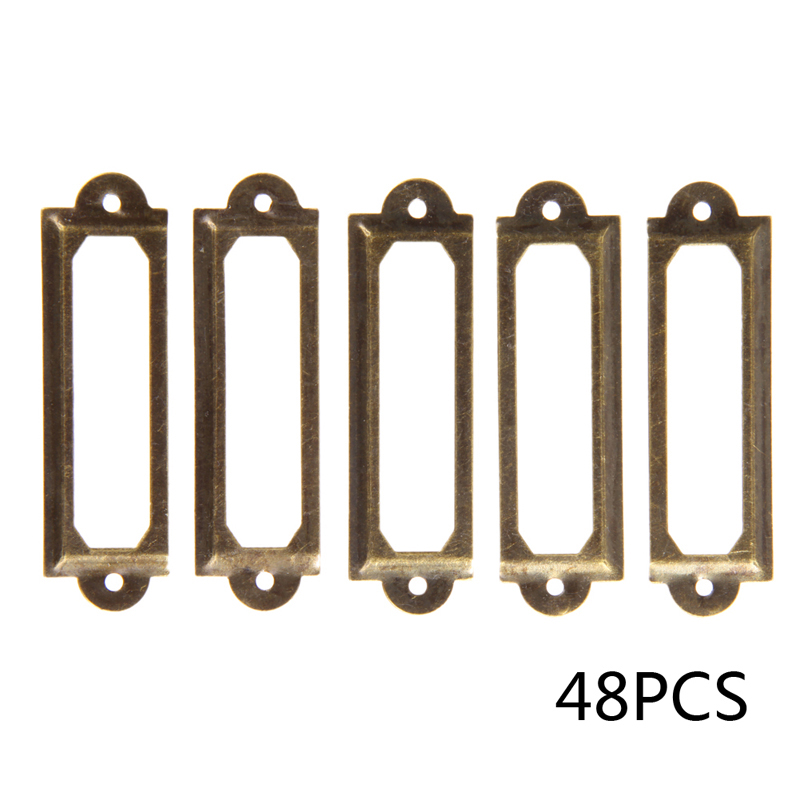 48pcs Antique Brass Metal Drawer Label Pull Frame Handle File Name Card Holder For Furniture Cabinet Drawer Box Case Bin 2016 hot 12pcs antique brass metal label pull frame handle file name card holder for furniture cabinet drawer box case bin e ch