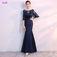 Junoesque Dark Navy Long Mermaid Evening Dresses 2018 Sexy Lady Evening Dress Scoop Satin Appliques Beading Evening Party Gowns
