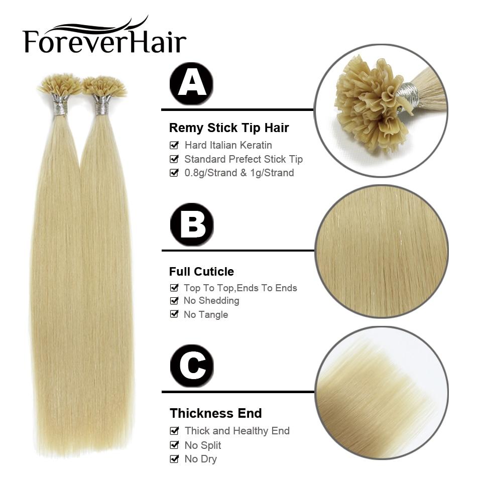 FOREVER HAIR 0.8 g / s Remy Kératine U Astuce Extension de Cheveux - Cheveux humains (blanc) - Photo 5
