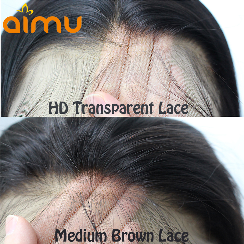 Transparent HD Lace Frontal Straight 13*6 Front Deep Part Human Hair Wig Remy Brazilian Invisible PrePlucked Bleached Knots Aimu-in Human Hair Lace Wigs from Hair Extensions & Wigs    1