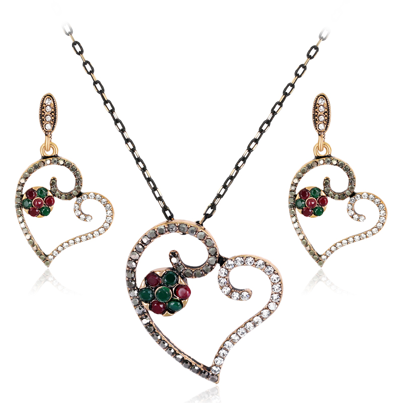 2017 African Beads Jewelry Set Danbihuabi Turkish Jewelry Sets Necklace & Earri Antique Heart Brincos Crystal Aros Schmuck