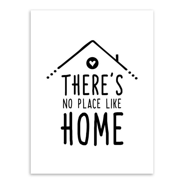 Black White Nordic Minimalist Houses Love Quotes A4 Canvas ...