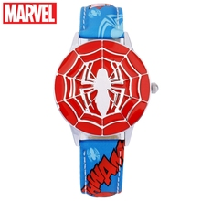 Cool Marvel Avengers Blue Black Spider-Man Handsome Boy Like Hero Best Gift For Kids Top Quality PU Band Watch Disney 81037 Time