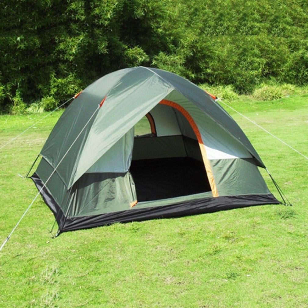 3-4 personne Coupe-Vent Tente de Camping Double Couche Imperméable Ouvert Anti-uv Touristique Tentes Pour La Randonnée En Plein Air Plage Voyage Tienda - 2