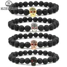 HOBBORN Trendy Punk Skull Men Bracelet Handmade 8mm Lava Stone Strand Natural Bracelets Hip Hop Mens Women Jewelry Bijoux