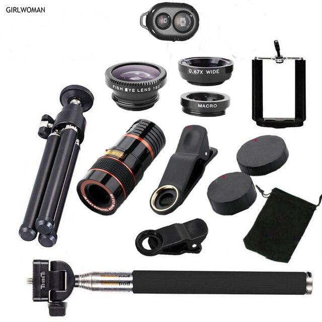 Girlwoman 12x Zoom Telephoto Lens mobile phone camera Fish eye Lens Wide Angle Macro Lenses Cell Phone Mobile Tripod for xiaomi
