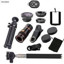 Камера для мобильного телефона Girlwoman, 12x зум объектив, мобильный телефон, рыбий глаз, широкоугольный объектив, макро объектив, штатив для мобильного телефона xiaomi
