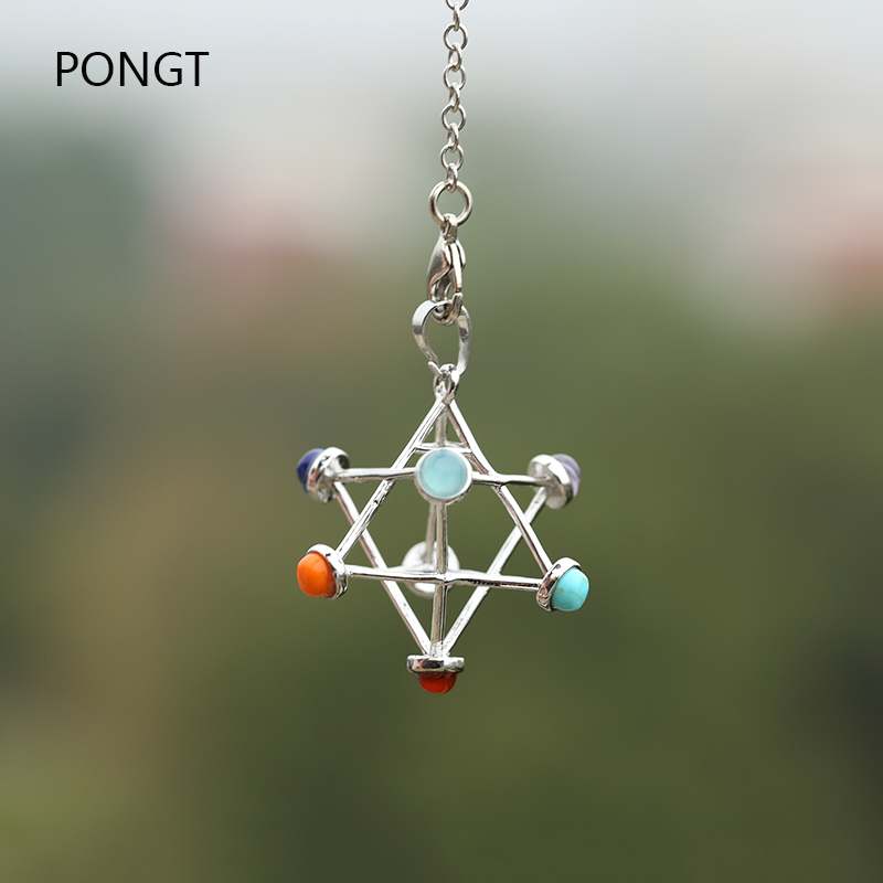 Natural stones Merkaba Star pendulum for dowsing reiki chakra healing quartz crystal pendant Necklace sacred geometry pendulo in Pendants from Jewelry Accessories