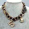 Gargantilla de Oro Collar de la Declaración 2016 Nueva Joyería Marca CC Estilo de Big Chunky Collares de Cadena Mujeres Bijoux Coliers Bijuteria