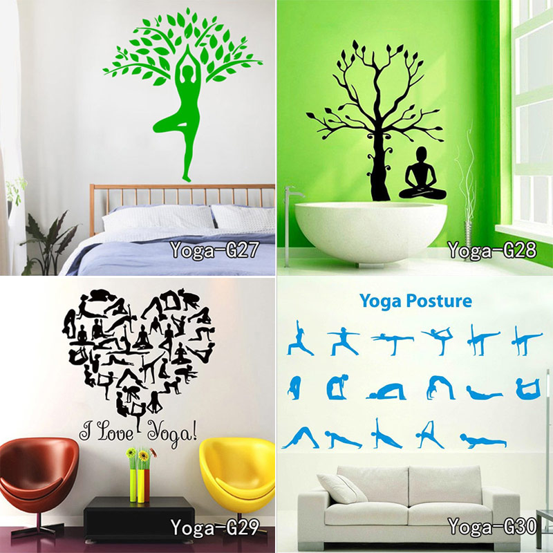 Yoga Meditation Zen Abstract Decor Living Room Vinyl Carving Wall Decal Sticker for Home Window Decoration Free shipping various meditation diverse