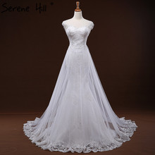White Lace Train Tulle Wedding Dress A-Line Serene Hill