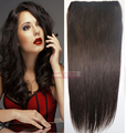 "16""-32"" 100% Brazilian Human Hair 1Pcs Set Single Hairpieces Clips In/on Extensions #2 dark brown 70g 80g 100g 120g 140g 160g"