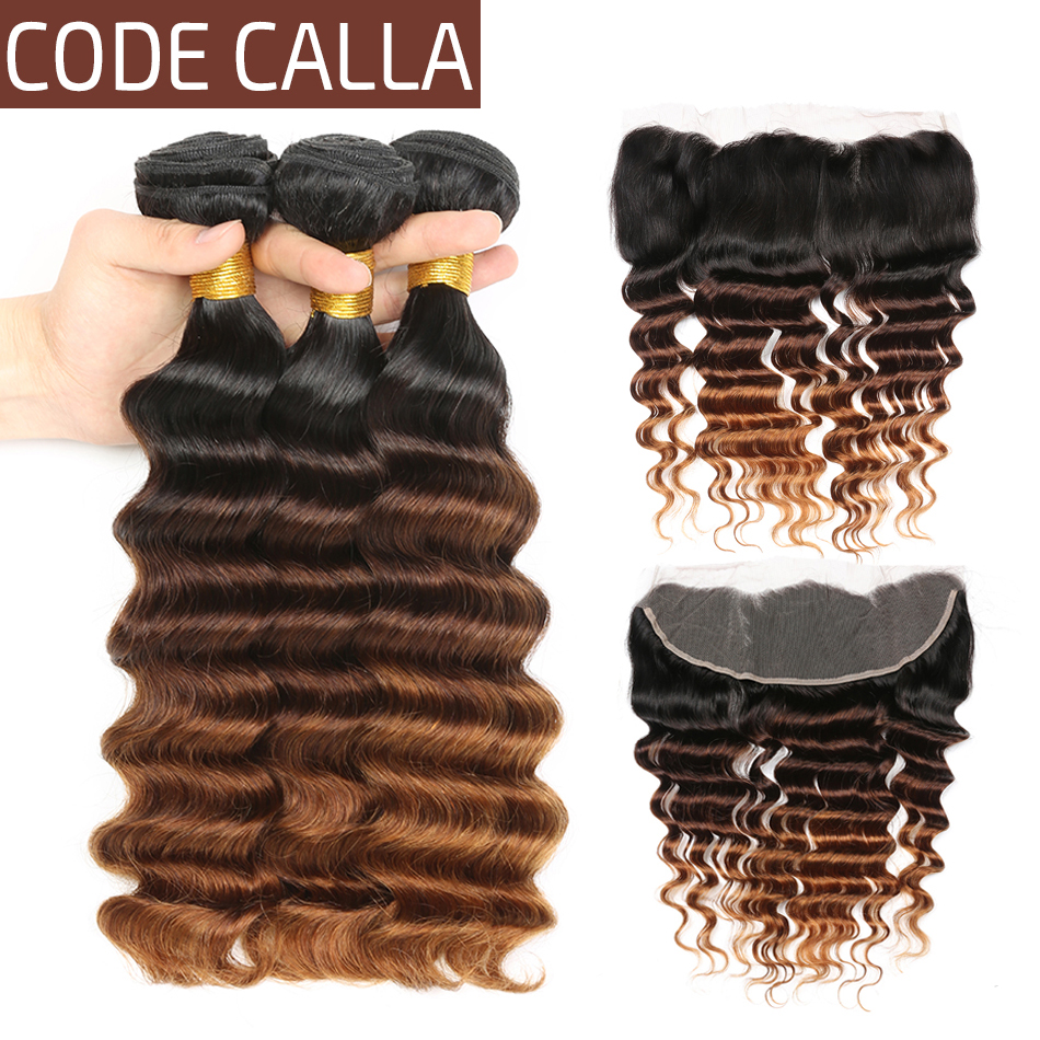 Code Calla Indian Ombre Color Loose Deep Bundles With Frontal Free Part 13*4 Lace Closure Raw Virgin 100% Human Curly Hair